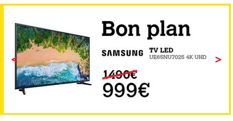 Catalogue Darty Téléviseur Samsung UE65NU7025