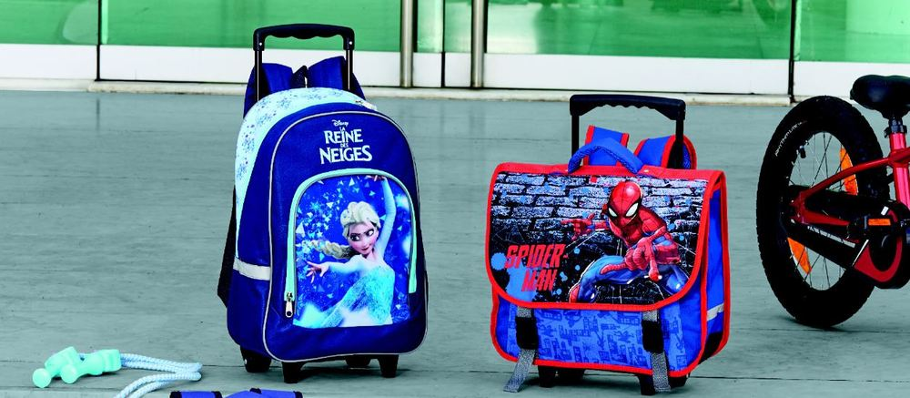 CARTABLE À ROULETTES SPIDERMAN 38 CM ENV. OU SAC À DOS À ROULETTES LA REINE DES NEIGES 47 CM ENV. SpidermanMarvel