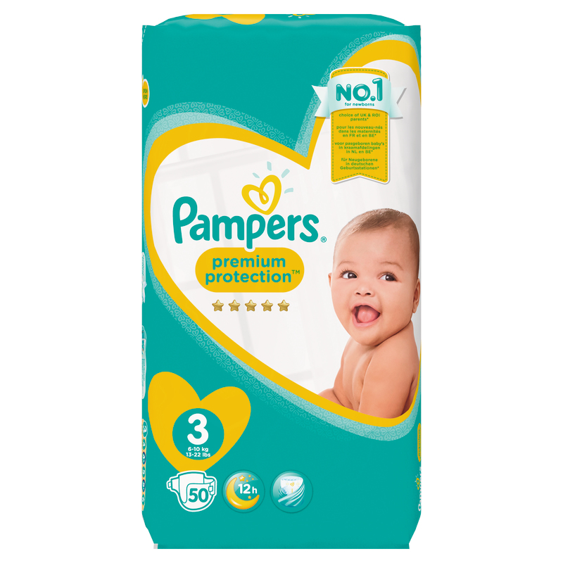 COUCHES PREMIUM PROTECTION GEANT TAILLE 3 X 50 PAMPERS PAMPERS