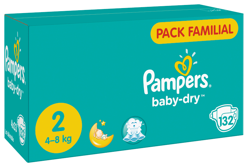 COUCHES BABY DRY PACK FAMILIAL TAILLE 2 X 132 PAMPERS PAMPERS