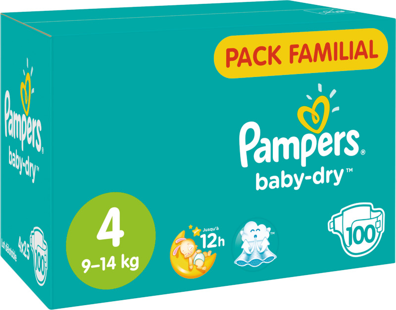 COUCHES BABY DRY PACK FAMILIAL TAILLE 4 X100 PAMPERS PAMPERS
